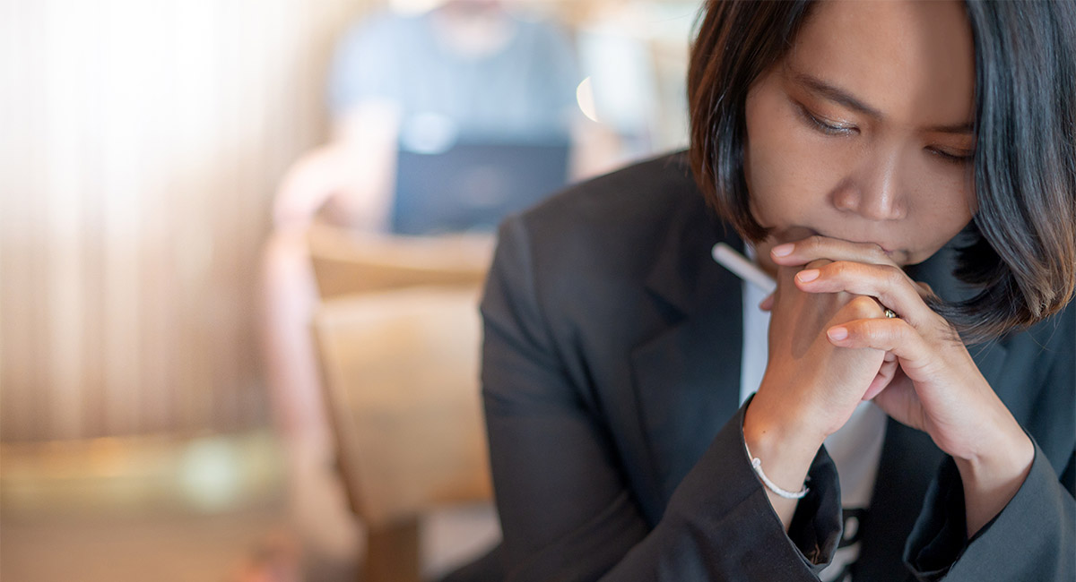Business woman stressed from find the new job because unemployed